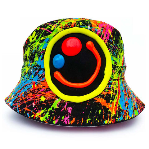 SQUIDGY FACE RAVE HAT BLACK MULTI