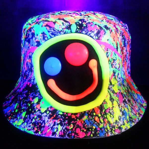 COUCHUK - UV REACTIVE - SQUIDGY FACE RAVE HAT WHITE MULTI - Clubwear - PLUR - Rave clothing