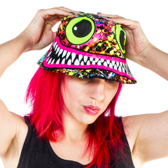 COUCHUK - UV REACTIVE - TUBBS FACE RAVE HAT WHITE - Clubwear - PLUR - Rave clothing