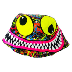 COUCHUK - UV REACTIVE - TUBBS FACE RAVE HAT BLACK - Clubwear - PLUR - Rave clothing