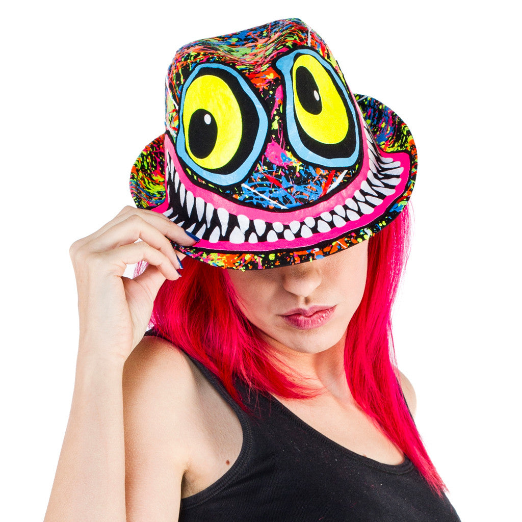 47581d90364 COUCHUK - UV REACTIVE - TUBBS FACE TRILBY BLACK - Clubwear - PLUR - Rave  clothing ...