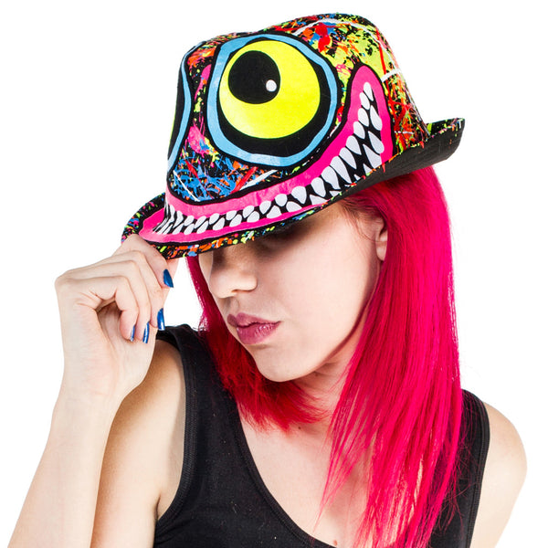 COUCHUK - UV REACTIVE - TUBBS FACE TRILBY BLACK - Clubwear - PLUR - Rave clothing