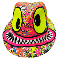 COUCHUK - UV REACTIVE - TUBBS FACE TRILBY WHITE - Clubwear - PLUR - Rave clothing
