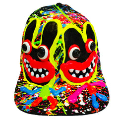 COUCHUK - UV REACTIVE - TWINS FLATPEAK CAP WHITE - Clubwear - PLUR - Rave clothing