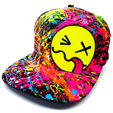 COUCHUK - UV REACTIVE - YELLOW TONGUE FLATPEAK CAP BLACK - Clubwear - PLUR - Rave clothing