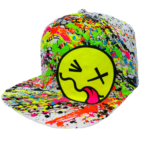 COUCHUK - UV REACTIVE - YELLOW TONGUE CAP WHITE - Clubwear - PLUR - Rave clothing