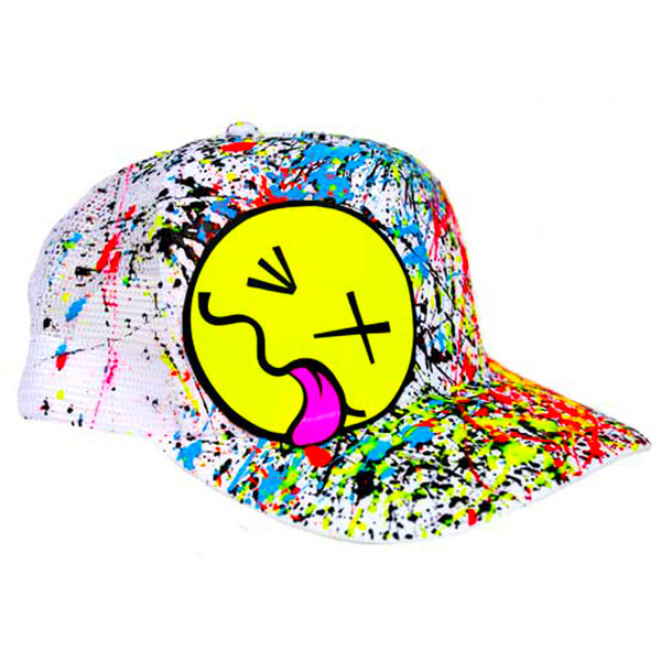 COUCHUK - UV REACTIVE - YELLOW TONGUE TRUCKER CAP WHITE - Clubwear - PLUR - Rave clothing