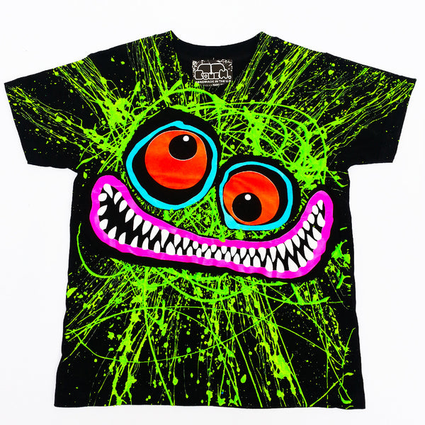 GREEN SCRIBBLE FACE KIDS T-SHIRT