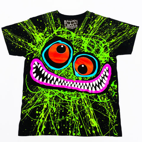 COUCHUK - UV REACTIVE - GREEN SCRIBBLE FACE KIDS T-SHIRT - Clubwear - PLUR - Rave clothing