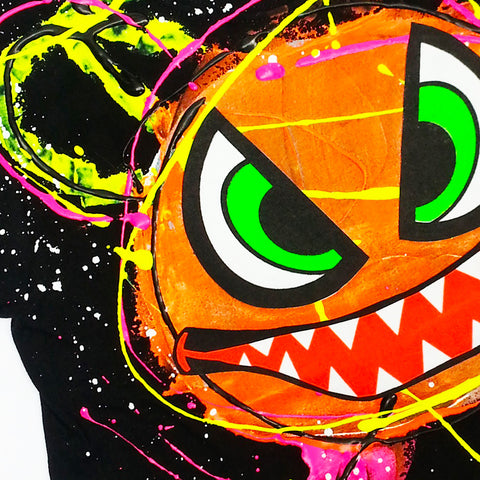 COUCHUK - UV REACTIVE - SPLAT MONSTER ORANGE KIDS T-SHIRT BLACK - Clubwear - PLUR - Rave clothing