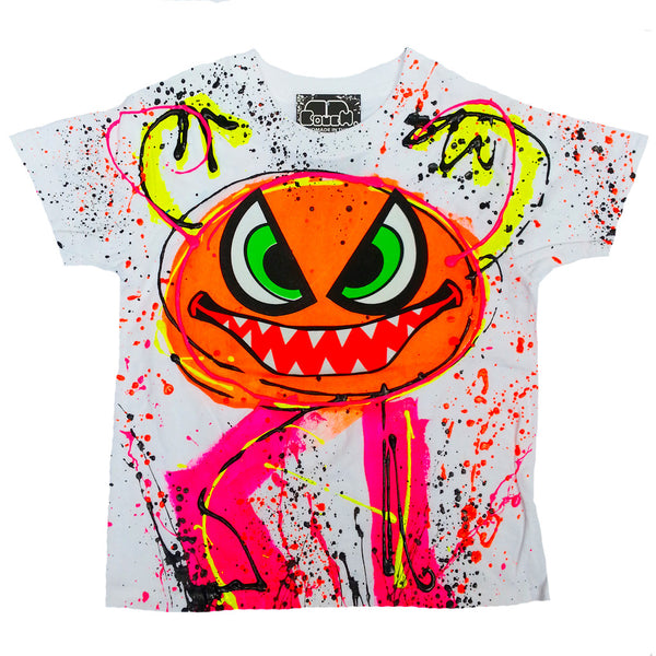 COUCHUK - UV REACTIVE - SPLAT MONSTER ORANGE KIDS T-SHIRT WHITE - Clubwear - PLUR - Rave clothing
