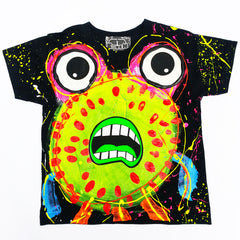 COUCHUK - UV REACTIVE - SPLAT MONSTER YELLOW KIDS T-SHIRT BLACK - Clubwear - PLUR - Rave clothing