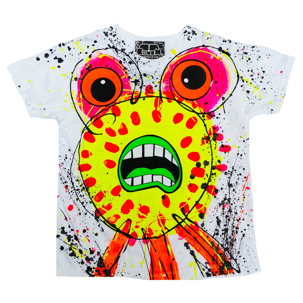 SPLAT MONSTER YELLOW KIDS T-SHIRT WHITE