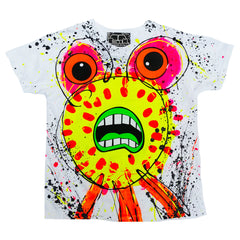 COUCHUK - UV REACTIVE - SPLAT MONSTER YELLOW KIDS T-SHIRT WHITE - Clubwear - PLUR - Rave clothing