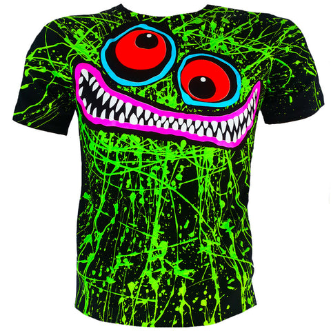GREEN SCRIBBLE FACE T-SHIRT BLACK