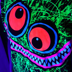 COUCHUK - UV REACTIVE - GREEN SCRIBBLE FACE UNISEX T-SHIRT BLACK - Clubwear - PLUR - Rave clothing