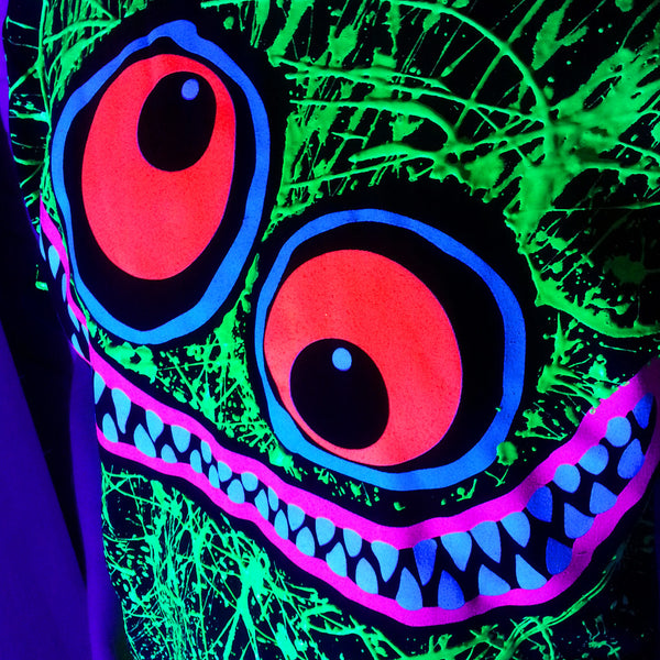 COUCHUK - UV REACTIVE - GREEN SCRIBBLE FACE T-SHIRT BLACK - Clubwear - PLUR - Rave clothing