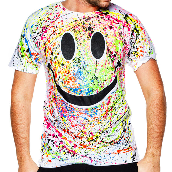COUCHUK - UV REACTIVE - GRIN T-SHIRT WHITE - Clubwear - PLUR - Rave clothing
