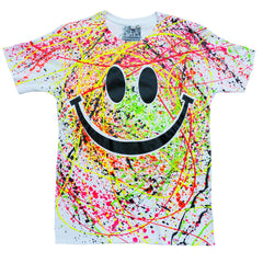 COUCHUK - UV REACTIVE - GRIN UNISEX T-SHIRT WHITE - Clubwear - PLUR - Rave clothing