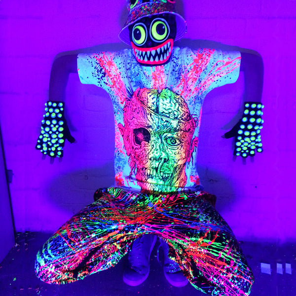 COUCHUK - UV REACTIVE - GURT ZOMBIE T-SHIRT WHITE - Clubwear - PLUR - Rave clothing