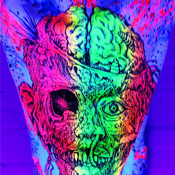 COUCHUK - UV REACTIVE - GURT ZOMBIE UNISEX T-SHIRT WHITE - Clubwear - PLUR - Rave clothing