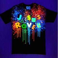 COUCHUK - UV REACTIVE - JESUS RAVES T-SHIRT MULTI BLACK - Clubwear - PLUR - Rave clothing