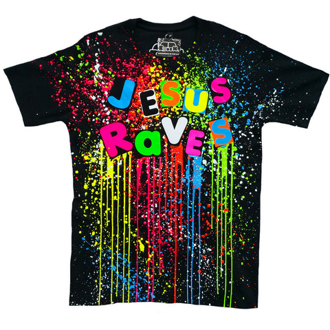JESUS RAVES UNISEX T-SHIRT MULTI BLACK