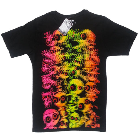 COUCHUK - UV REACTIVE - JUDDER UNISEX T-SHIRT BLACK MULTI - Clubwear - PLUR - Rave clothing