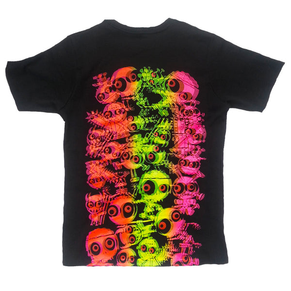 COUCHUK - UV REACTIVE - JUDDER T-SHIRT BLACK MULTI - Clubwear - PLUR - Rave clothing