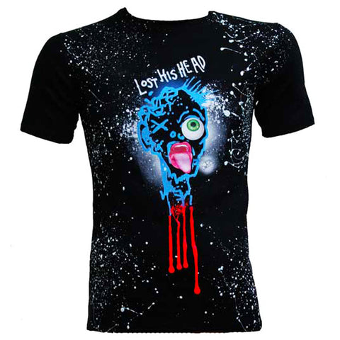 COUCHUK - UV REACTIVE - LOST HIS HEAD T-SHIRT MULTI BLACK - Clubwear - PLUR - Rave clothing