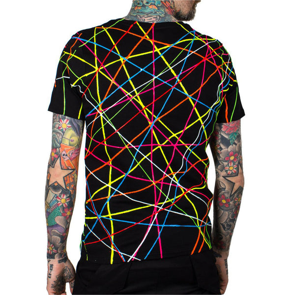 COUCHUK - UV REACTIVE - SCRIBBLE UNISEX T-SHIRT BLACK - Clubwear - PLUR - Rave clothing