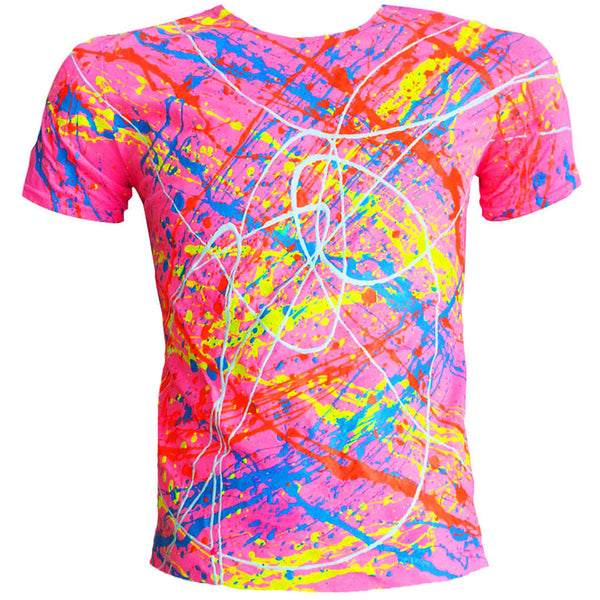COUCHUK - UV REACTIVE - NEON SPLAT T-SHIRT PINK - Clubwear - PLUR - Rave clothing