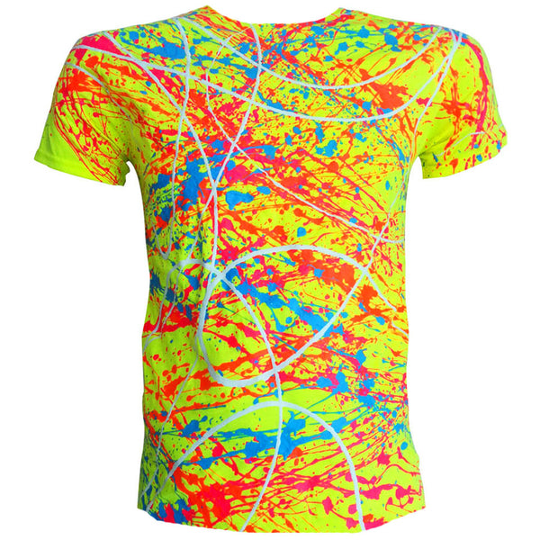 COUCHUK - UV REACTIVE - NEON SPLAT T-SHIRT YELLOW - Clubwear - PLUR - Rave clothing