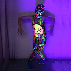COUCHUK - UV REACTIVE - RAINBOW TONGUE BEATER VEST BLACK - Clubwear - PLUR - Rave clothing