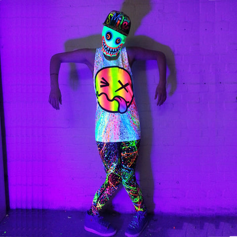 COUCHUK - UV REACTIVE - RAINBOW TONGUE BEATER VEST WHITE - Clubwear - PLUR - Rave clothing