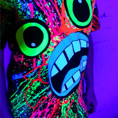 COUCHUK - UV REACTIVE - SCREAM UNISEX T-SHIRT BLACK - Clubwear - PLUR - Rave clothing