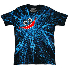 COUCHUK - UV REACTIVE - BLUE SCRIBBLE FACE T-SHIRT BLACK - Clubwear - PLUR - Rave clothing