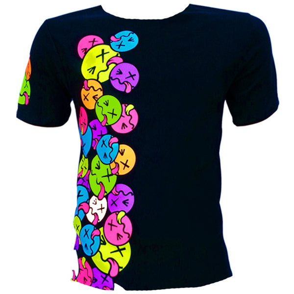 COUCHUK - UV REACTIVE - SIDE TONGUE T-SHIRT BLACK - Clubwear - PLUR - Rave clothing