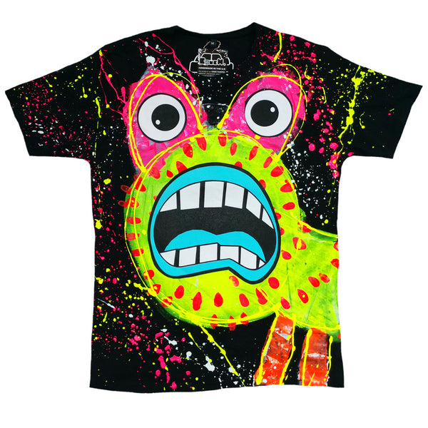 COUCHUK - UV REACTIVE - SPLAT MONSTER YELLOW T-SHIRT BLACK - Clubwear - PLUR - Rave clothing