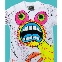 COUCHUK - UV REACTIVE - SPLAT MONSTER YELLOW T-SHIRT WHITE - Clubwear - PLUR - Rave clothing