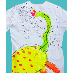 COUCHUK - UV REACTIVE - SPLAT MONSTER YELLOW UNISEX T-SHIRT WHITE - Clubwear - PLUR - Rave clothing