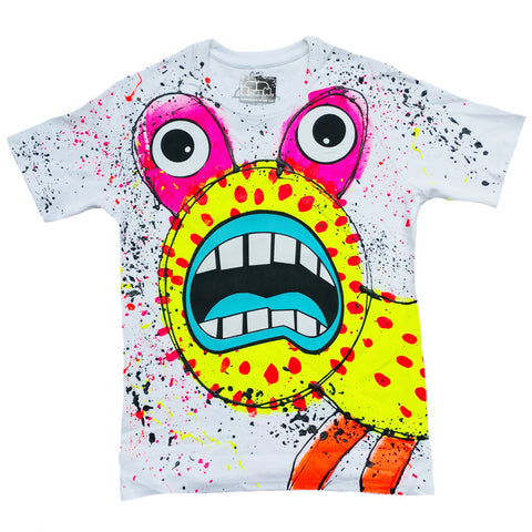 SPLAT MONSTER YELLOW UNISEX T-SHIRT WHITE
