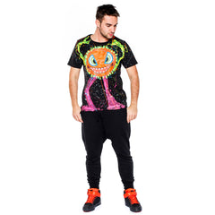 COUCHUK - UV REACTIVE - SPLAT MONSTER ORANGE T-SHIRT BLACK - Clubwear - PLUR - Rave clothing