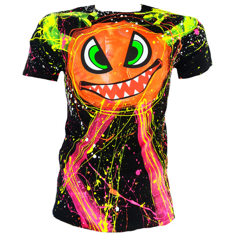 COUCHUK - UV REACTIVE - SPLAT MONSTER ORANGE UNISEX T-SHIRT BLACK - Clubwear - PLUR - Rave clothing