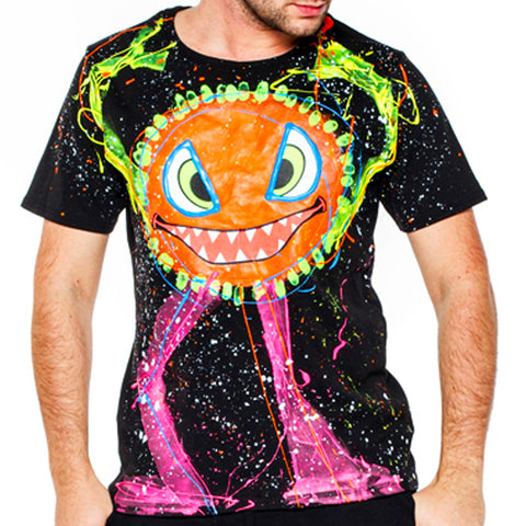 SPLAT MONSTER ORANGE T-SHIRT BLACK