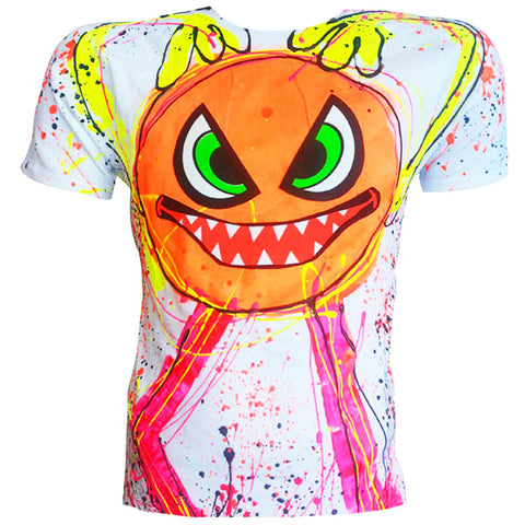 COUCHUK - UV REACTIVE - SPLAT MONSTER ORANGE T-SHIRT WHITE - Clubwear - PLUR - Rave clothing