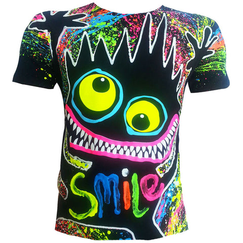 COUCHUK - UV REACTIVE - WILDMAN T-SHIRT BLACK - Clubwear - PLUR - Rave clothing