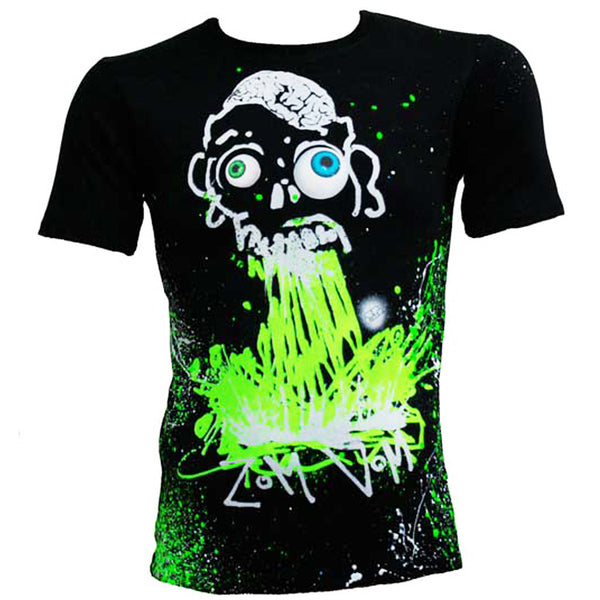 COUCHUK - UV REACTIVE - ZOM VOM UNISEX T-SHIRT MULTI BLACK - Clubwear - PLUR - Rave clothing