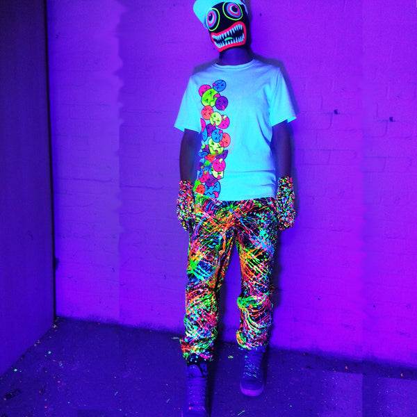 COUCHUK - UV REACTIVE - SPLAT TRACKIES MULTI - Clubwear - PLUR - Rave clothing