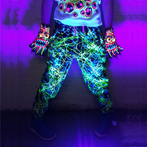 COUCHUK - UV REACTIVE - SPLASH TRACKIES YELLOW/BLUE - Clubwear - PLUR - Rave clothing